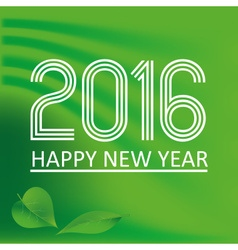 happy new year 2016 on green wave color background vector image vector image