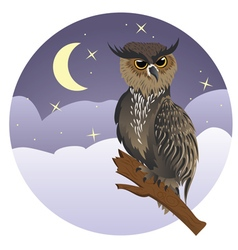 Horned Owl on a Branch3 vector image