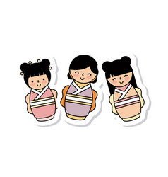 Japanese girls icon vector