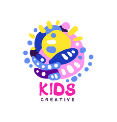 Kids creative logo design colorful hand drawn vector