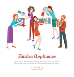 Kitchen Appliances Set of People on Store Sale vector image vector image