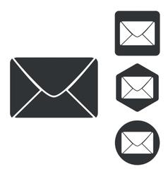 Letter icon set monochrome vector image