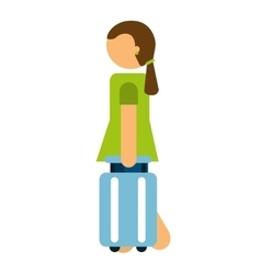 person traveler with suitcase isolated vector image