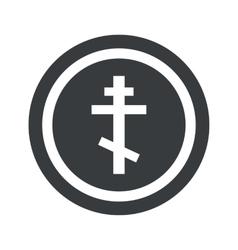 Round black orthodox cross sign vector