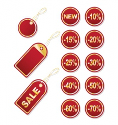 set of gold tags vector image
