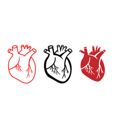 set of human heart icons in linear style vector image
