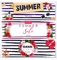 set of summer sale banner design vector image