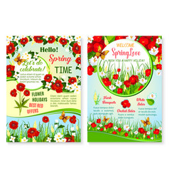 Spring holiday sale posters set of flowers vector