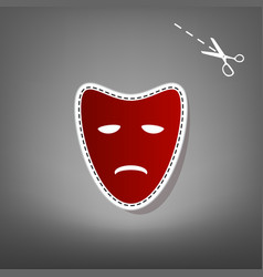 Tragedy theatrical masks red icon with vector