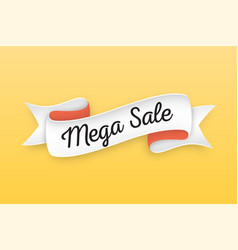Trendy retro ribbon with text mega sale colorful vector