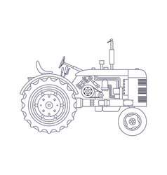 Vintage agricultural tractor isolated on white vector