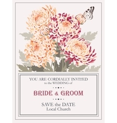 Wedding invitation with chrysanthemums vector