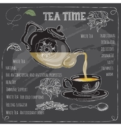 White tea time card with cup teapot and leaves vector