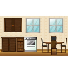 Wooden furniture and windows vector