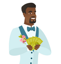 Young african-american groom holding money vector