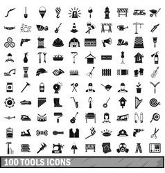 100 tools icons set simple style vector