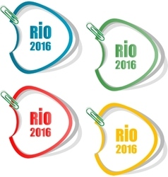 Stickers set sign symbol rio olympics games 2016 vector