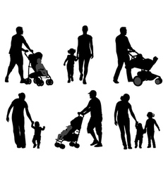 Parents walking with their children vector