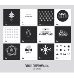 Big set of square black and white winter cards vector