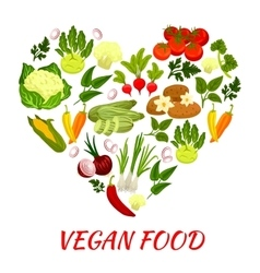 Heart shape icon with vegan vegetables elements vector