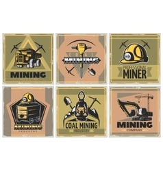 Mining industry posters set vector