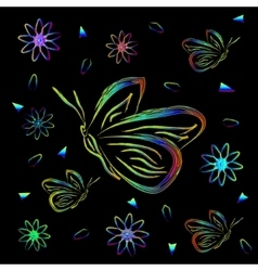 Greeting card with flowers and butterflies in neon vector