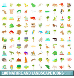 100 nature and landscape icons set cartoon style vector image