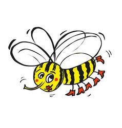 flying funny bee vector image