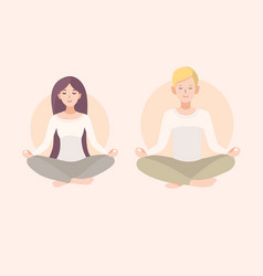 young woman and man couple meditating with crossed vector image