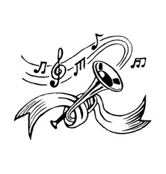 trumpet and notes vector image