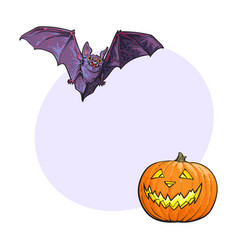 Halloween symbols - pumpkin jack o lantern and vector