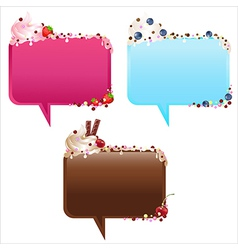 Collection Of Speech Bubbles With Ice-Cream vector image
