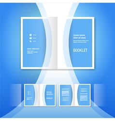 Booklet design template blue curve bend line vector