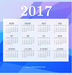 2017 calendar design with blue abstract shapes vector image vector image