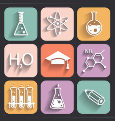Colored chemistry icons for learning and web appl vector image