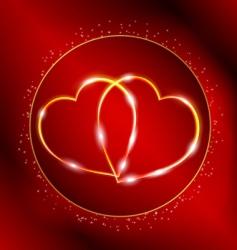 valentines golden hearts vector image