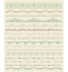 Hand sketched borders and frames dividers swirls vector