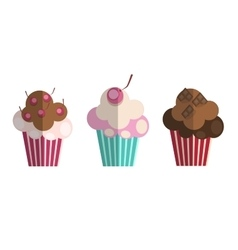Set of paper flat cupcakes vector