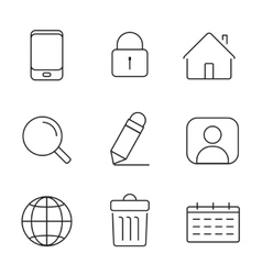 Web icons set thin lines simple design vector