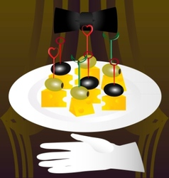 Olives and cheese vector
