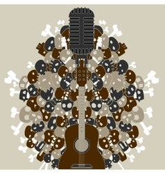 Guitar with skulls and bones vector