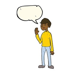 Cartoon waving man with speech bubble vector
