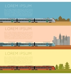 Set of commuter train banners vector