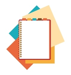 Flat design notepad with paper sheets vector