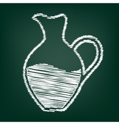 Chalk icon on green board vector