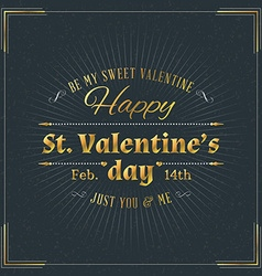 Happy valentines day vintage retro golden badge vector