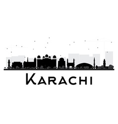 Karachi city skyline black and white silhouette vector