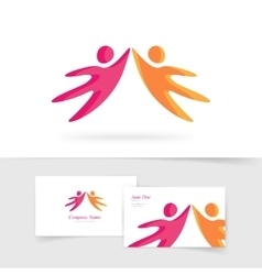 Abstract two people holding hands together vector image