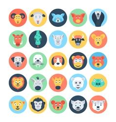 Animal avatars flat icons 3 vector