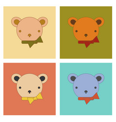 assembly flat icons kids toy bear vector image vector image